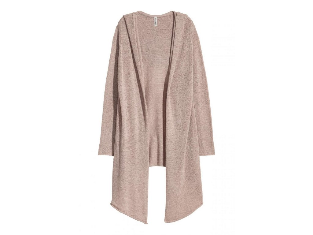 womens hooded cardigan taupe hm grey knitwear 1