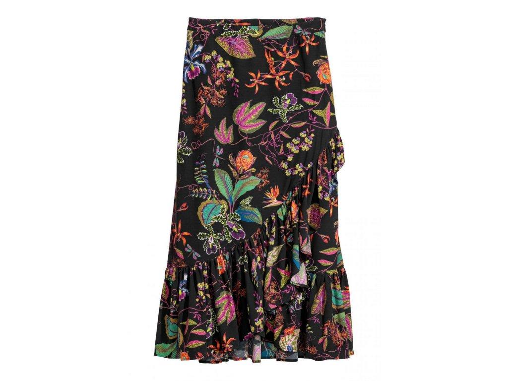 womens calf length flounced skirt blackbotanical hm black sk