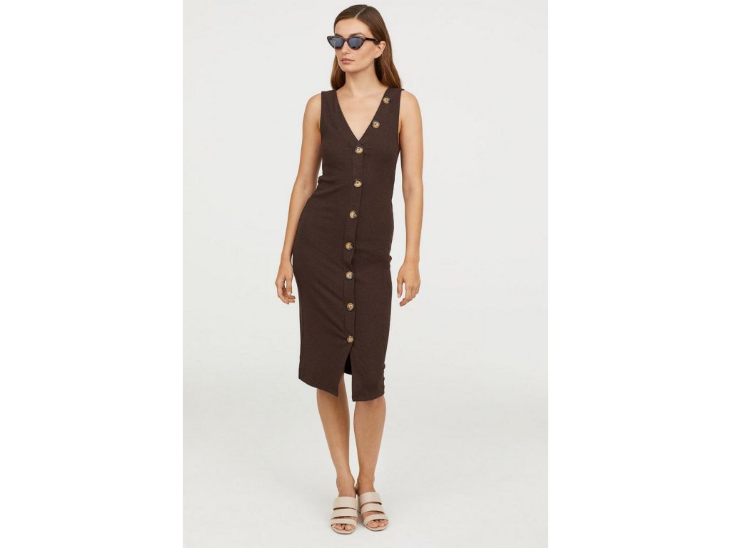 womens fitted dress dark brown hm brown dresses 1