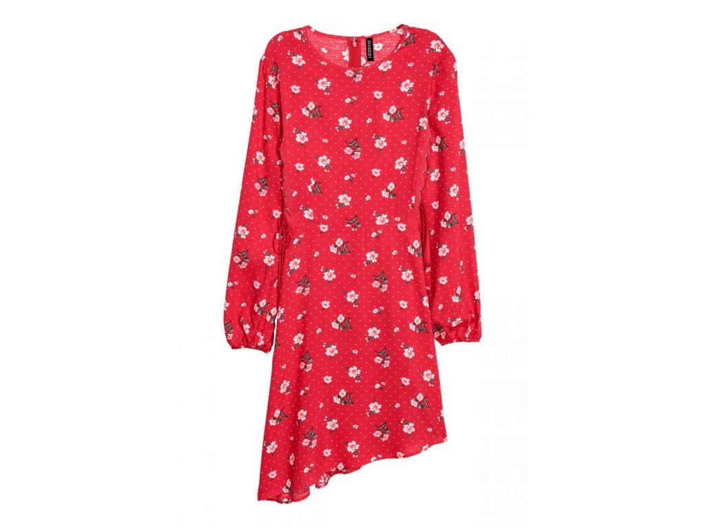 womens patterned dress redfloral hm red dresses 1
