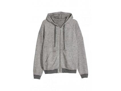 mens textured knit hooded jacket light gray melange hm g 003