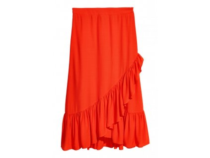 womens calf length flounced skirt orange hm orange skirts