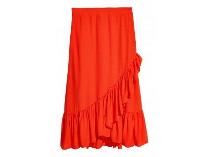 womens calf length flounced skirt orange hm orange skirts