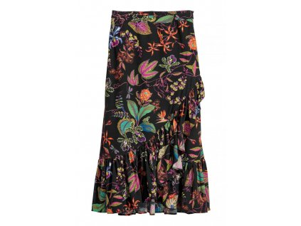 womens calf length flounced skirt blackbotanical hm black sk