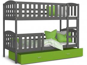 detska poschodova postel KUBUS siva zelena