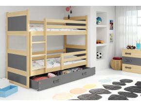 detska poschodova postel s uloznym priestorom RICO BOROVICA SIVA