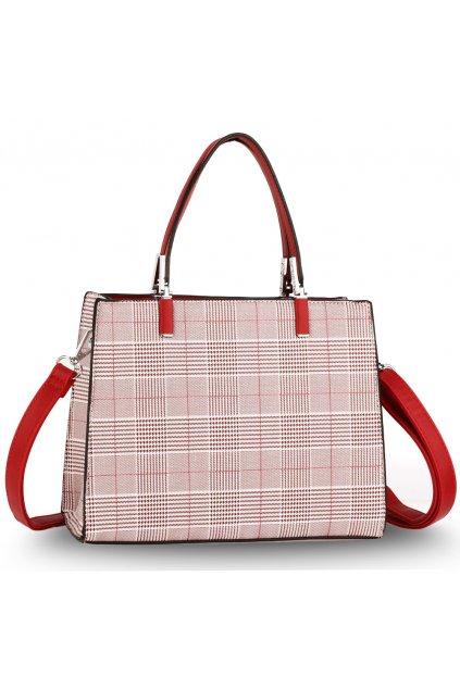 Karovaná kabelka do ruky Payton bordová / biela AG00634