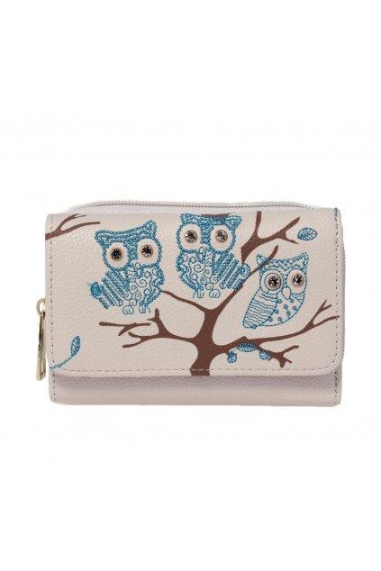 Slonovinová modrá peňaženka pre ženy AG Sovy AGP1045