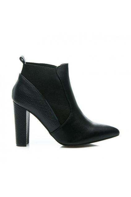 Čierne topánky na vysokom opätku 2146-6B / S1-1P veľ.č. 39 (Veľkosť UK6 / EUR 39)