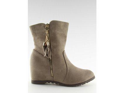 Inello boty na klínovém podpatku MM-126350 béžová