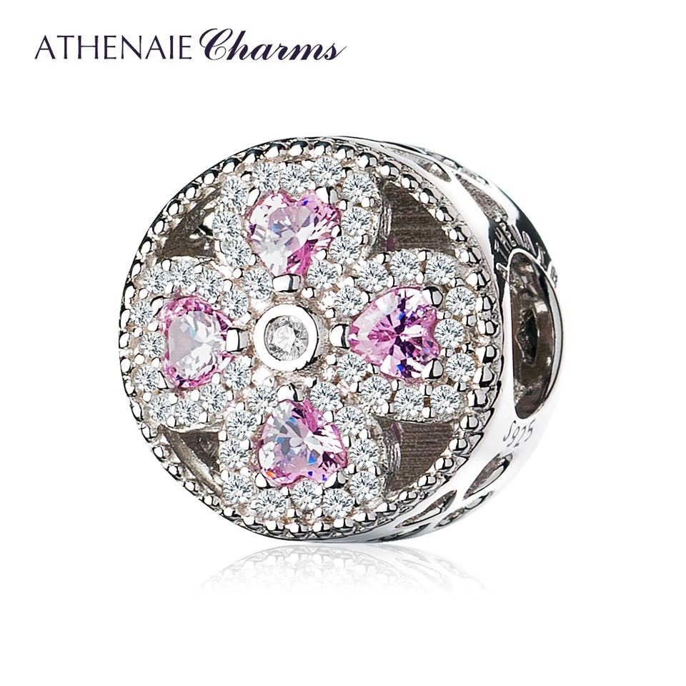 Athenaie přívěsek Růžový čtyřlístek lásky PAV46